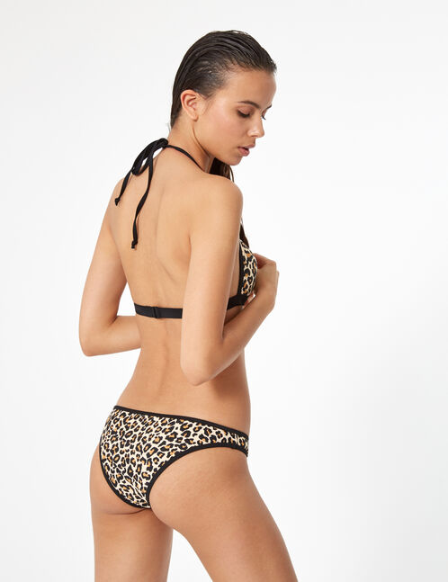 maillot de bain 2 pièces léopard beige et noir
