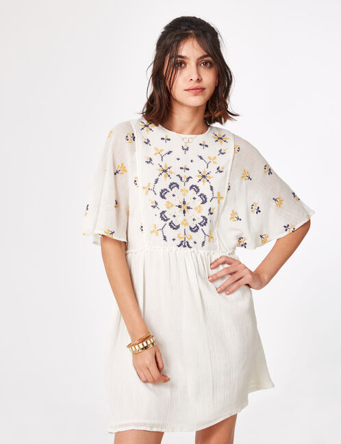 Cream flared dress with embroidery detail