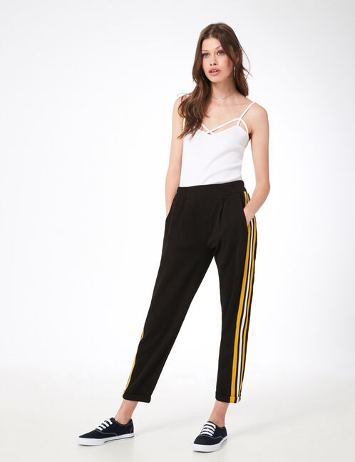 Black and ochre joggers with striped side trim detail