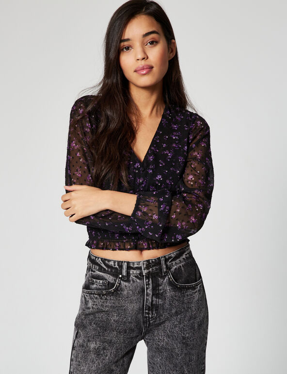 Floral-print sheer chiffon blouse
