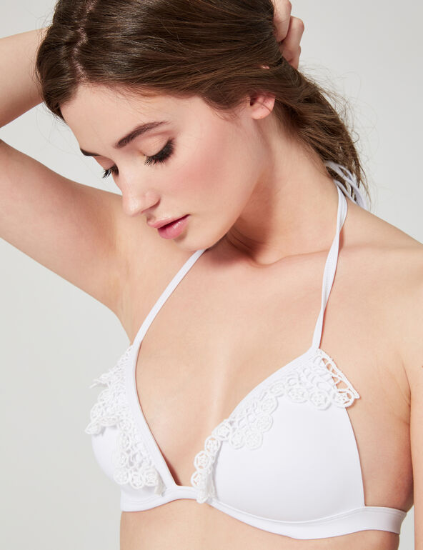 Bikini top with crochet details