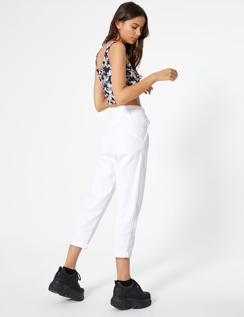 pantalon avec ceinture blanc