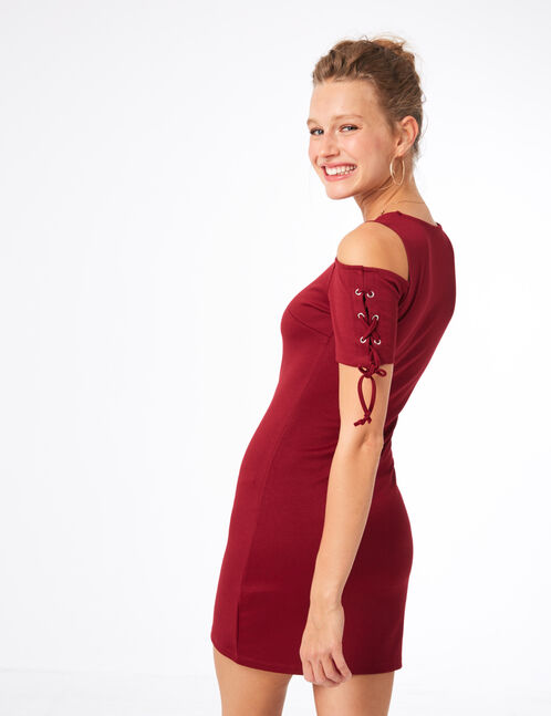 Burgundy dress with lacing detail
