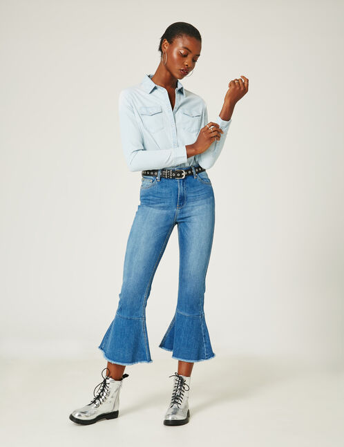 jean avec volants medium blue