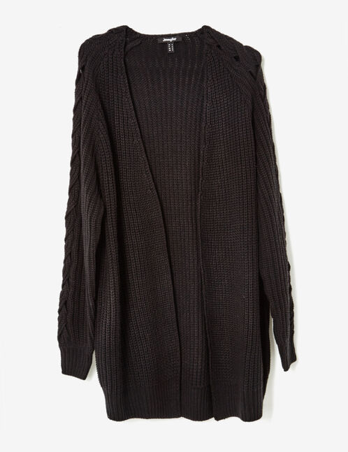 Black cardigan with openwork braided knit detail