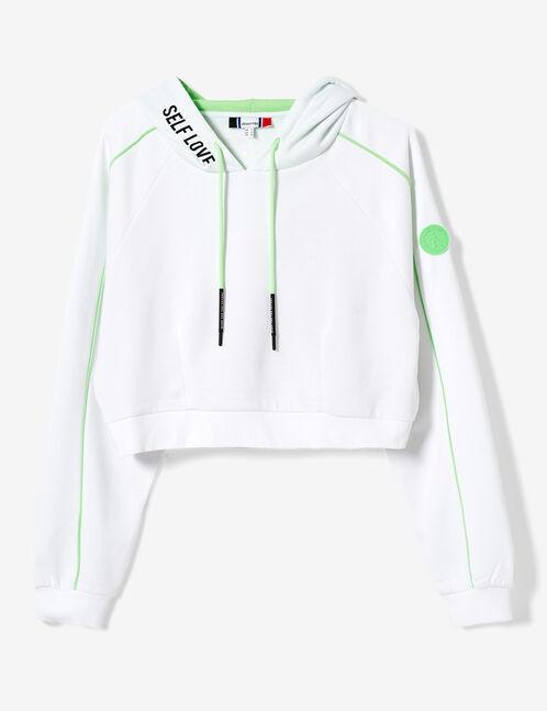 sweat crop blanc et vert fluo