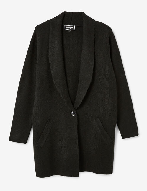 Long black wool jacket