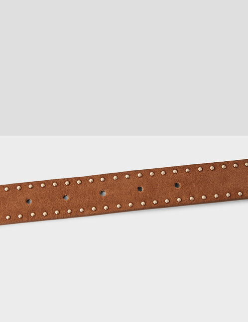 Camel studded faux suede belt