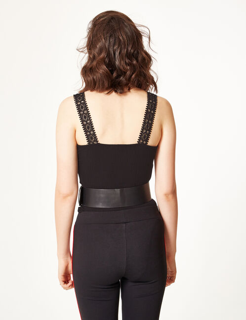 Black bodysuit with lace and lacing details