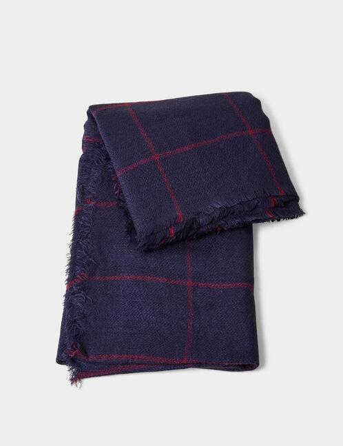 Navy blue and burgundy tartan scarf