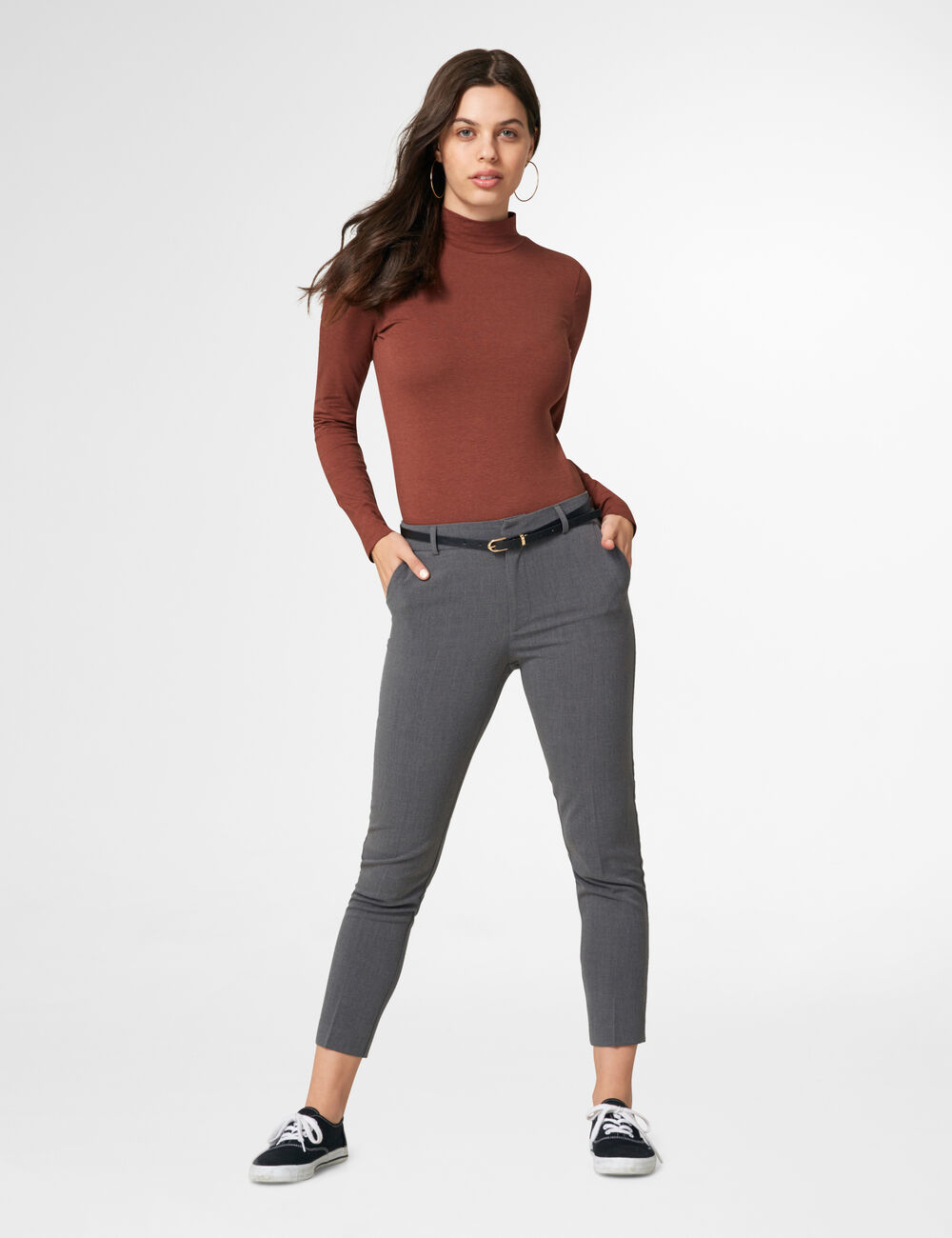 pantalon ville avec ceinture gris femme jennyfer. Black Bedroom Furniture Sets. Home Design Ideas
