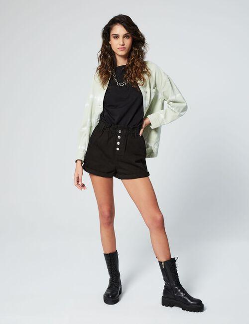 Short en jean taille élastiquée