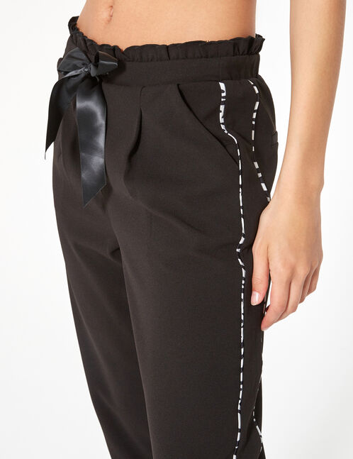Black tailored trousers with ribbon detail