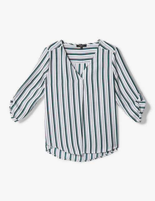 White, green and blue striped blouse