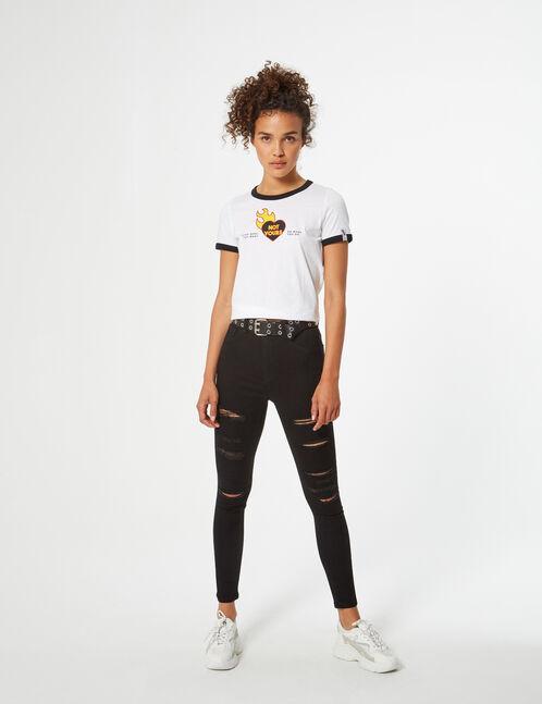 tee-shirt imprimé flammes