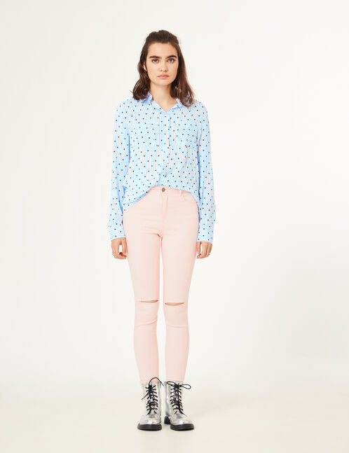Light pink high-waisted ripped trousers