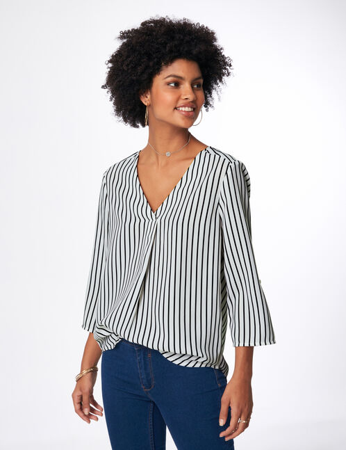 White and black striped blouse