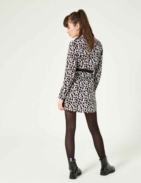 Beige, brown and black leopard print shirt dress with belt