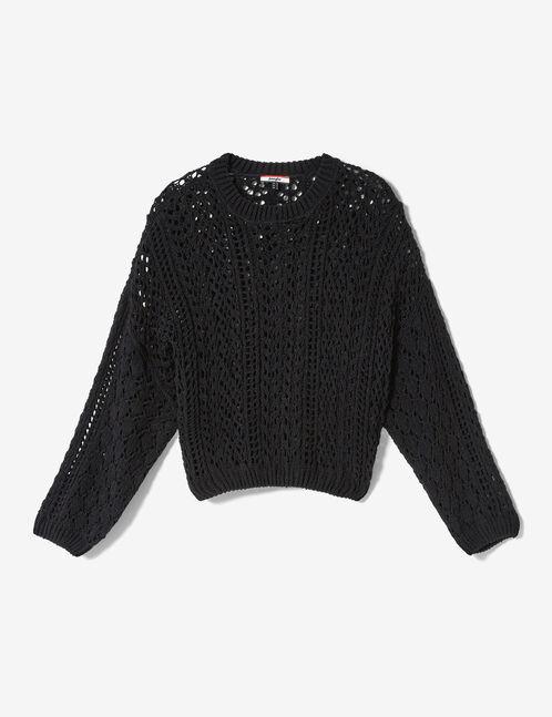 Loose-fit black openwork jumper