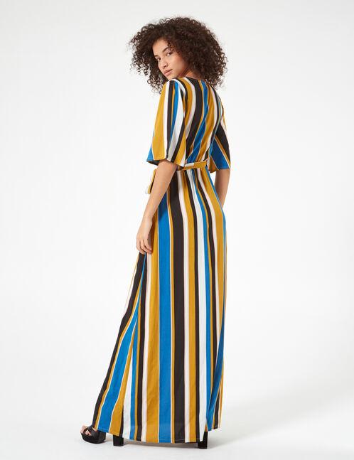 robe longue rayée bleue, ocre et noire