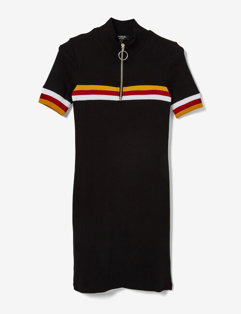 robe esprit sport noire, ocre, rouge et blanche