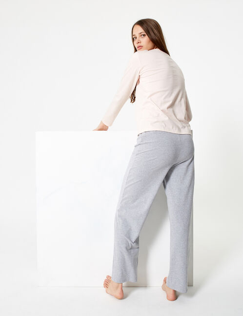 set pyjama smiley rose clair et gris chiné
