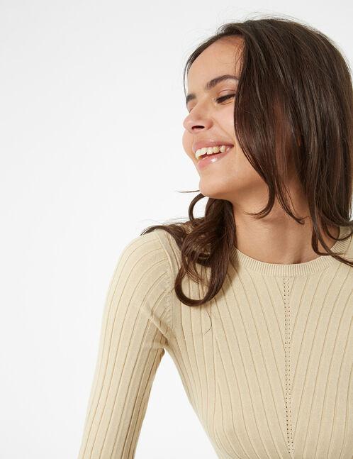 pull côtelé beige