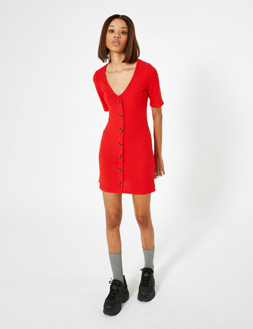 robe côtelée boutonnée rouge