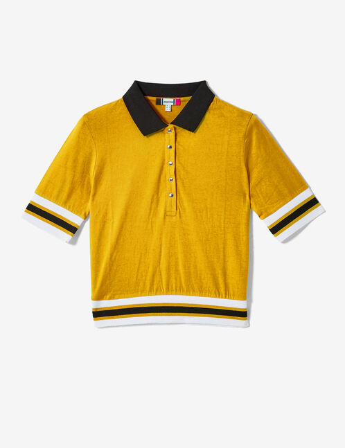 tee-shirt esprit polo ocre et noir