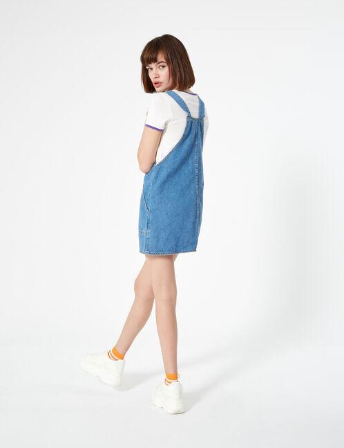 robe chasuble en denim bleu