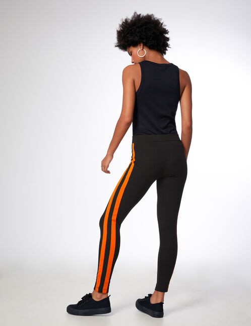 Black and orange leggings with side stripe detail