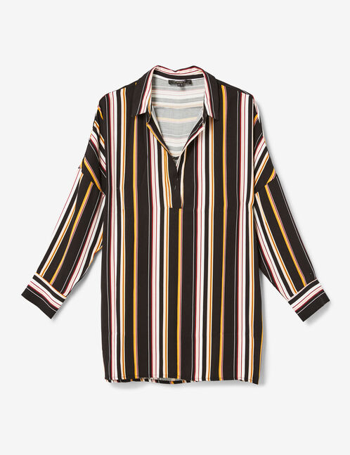 Long black, burgundy, pink, ochre and white striped shirt