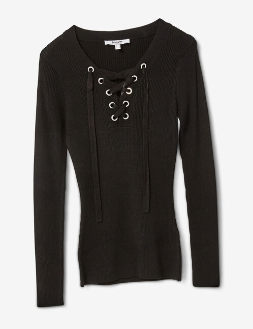 Black ribbed jumper with lacing detail