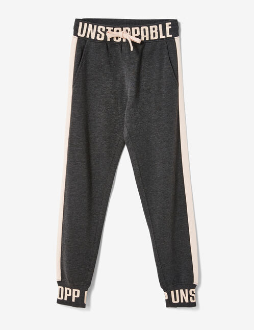 """Charcoal grey marl """"unstoppable"""" joggers"""