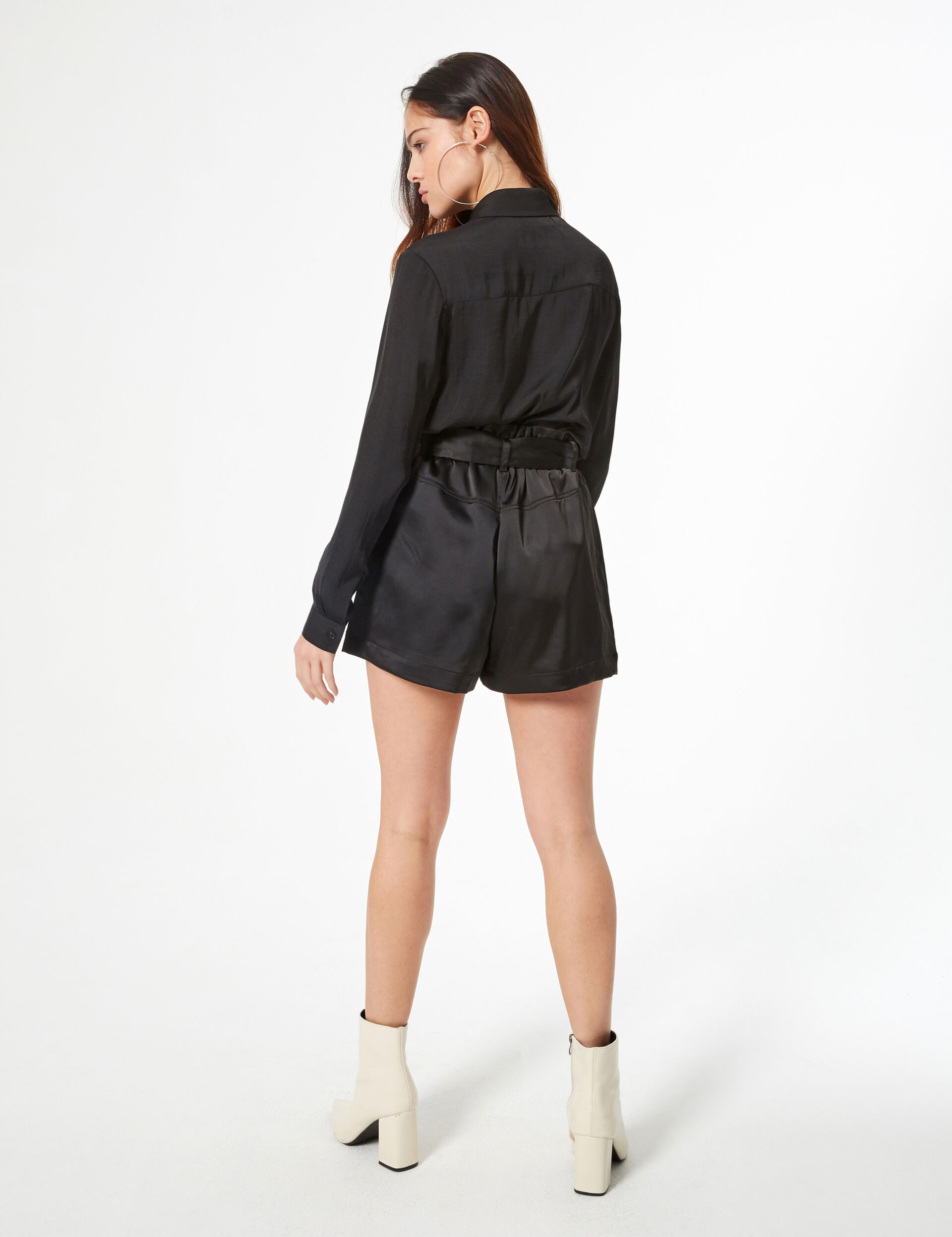 High-waisted satin shorts
