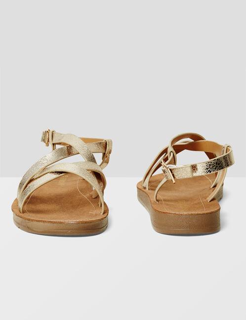 sandales plates avec liens dorées