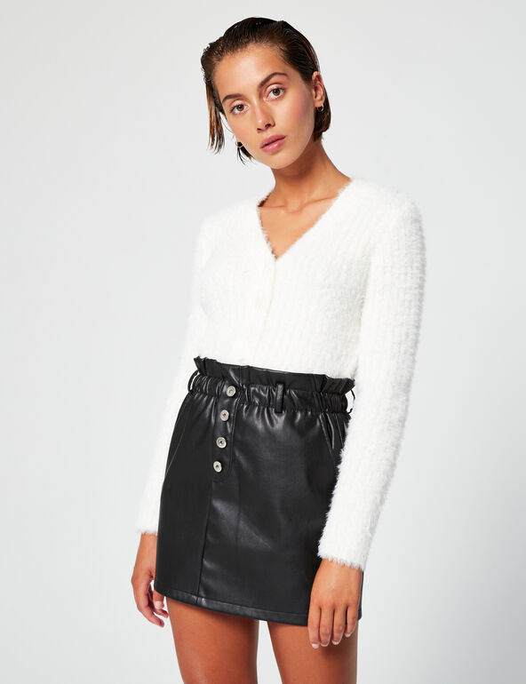 Imitation leather mini skirt