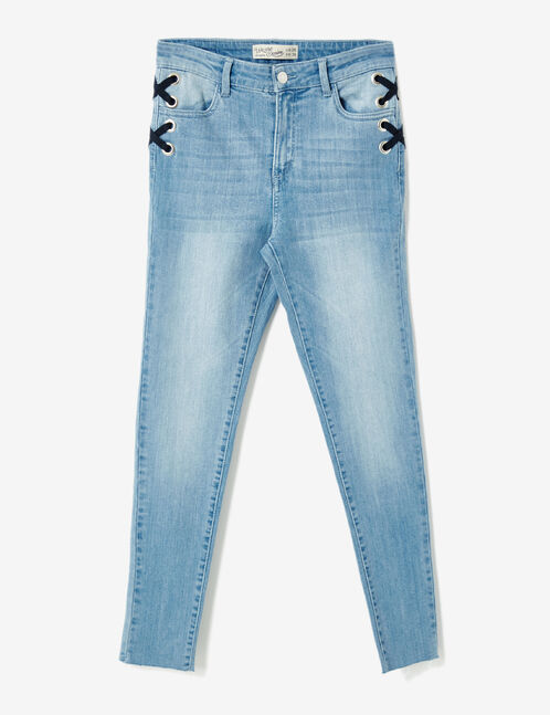 Light blue skinny jeans with lacing detail