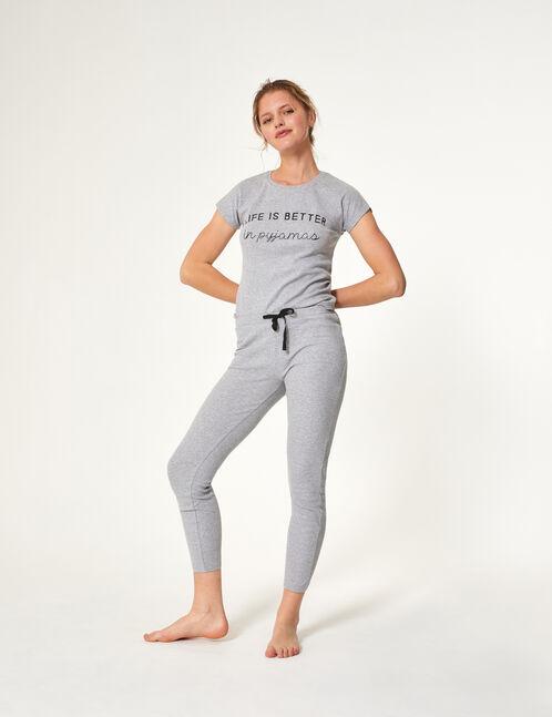 Grey marl pyjamas with text design detail