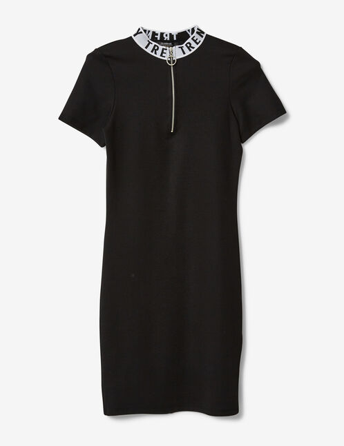 "Black ""trendy"" dress with zip detail"