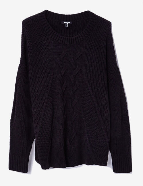 Black ribbed jumper with cable stitch detail