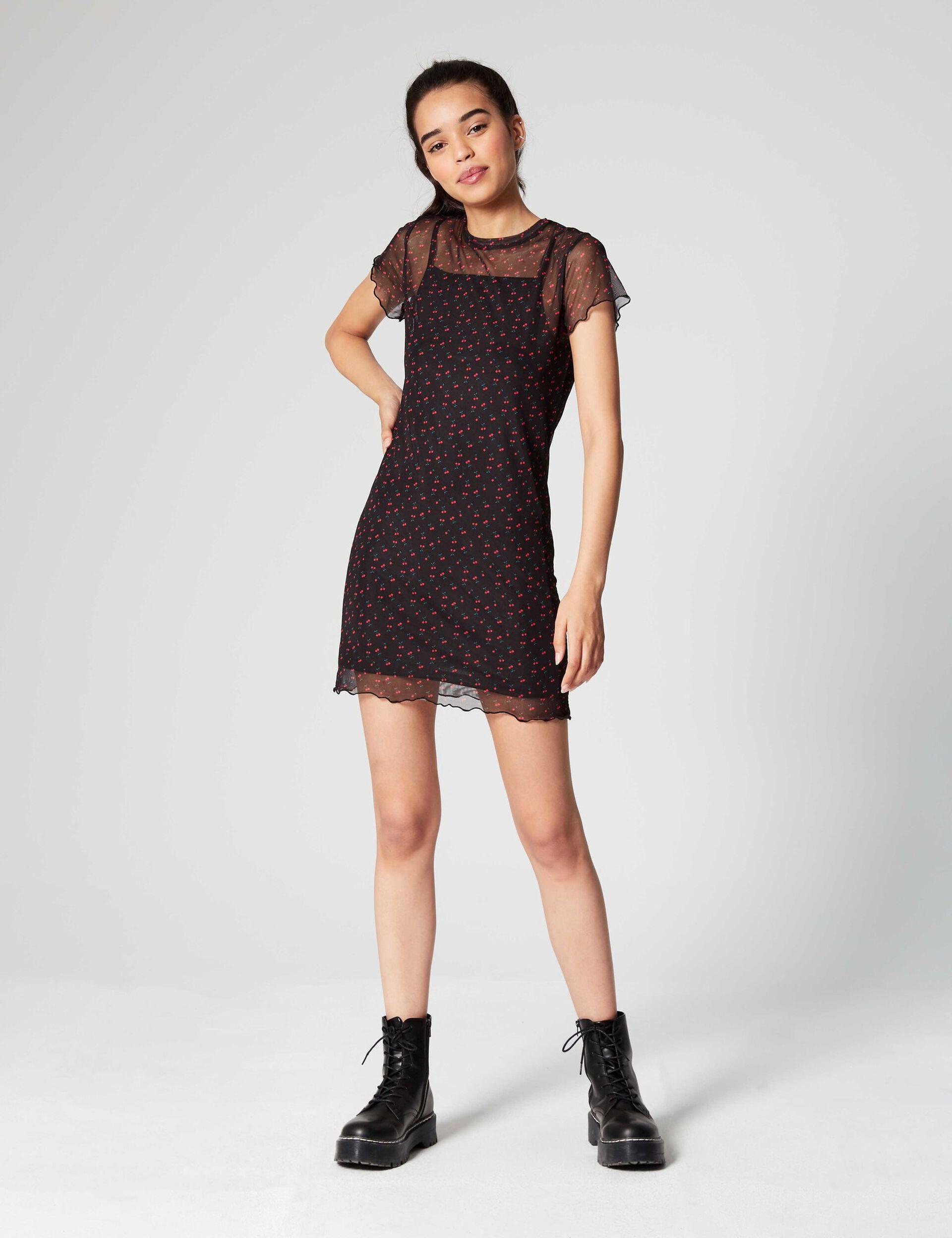 Mesh dress with cherries
