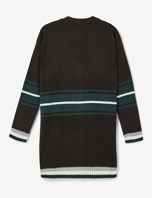 Black, green and white striped cardigan