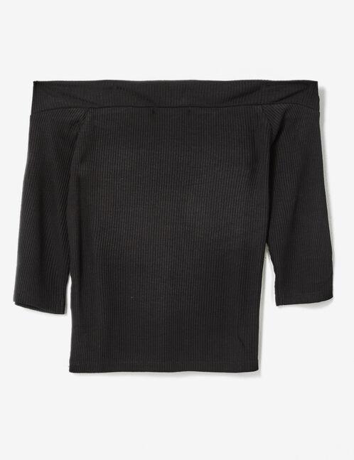 Black off-the-shoulder zipped top