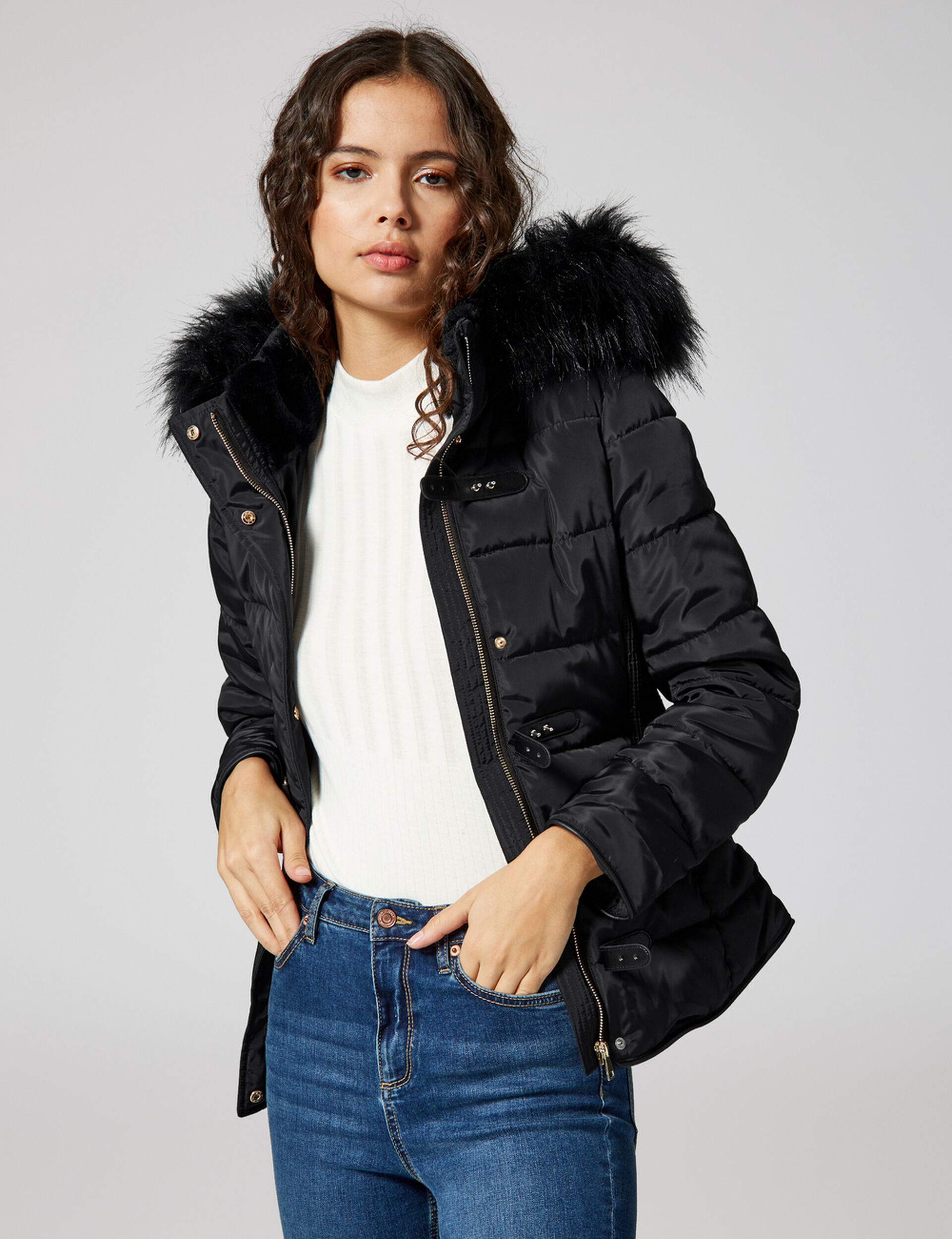 Black hooded padded jacket