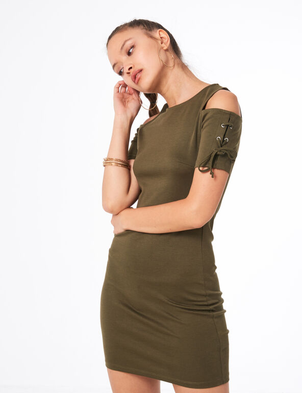 Khaki dress with lacing detail