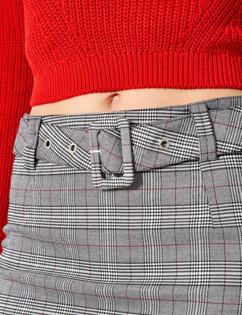 mini jupe prince de galles noire et blanche