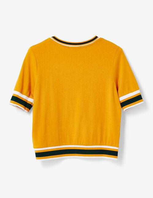 Ochre T-shirt with striped trim detail