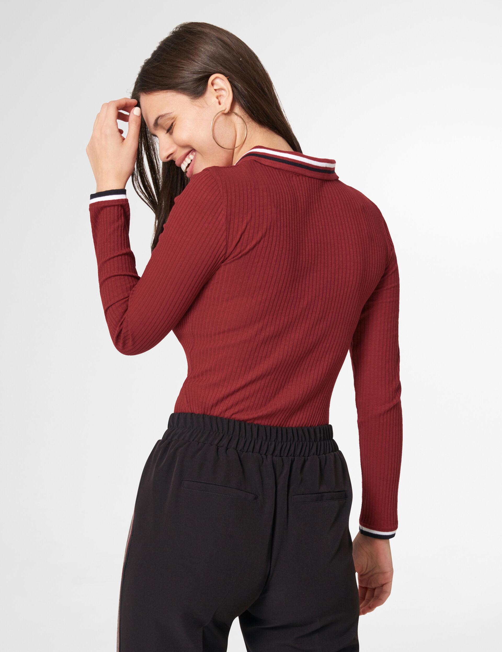 Burgundy polo shirt-style top