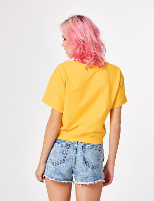 sweat manches courtes jaune